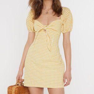 Nasty Gal Sz 10 Yellow Gingham Tie Bust Mini Dress
